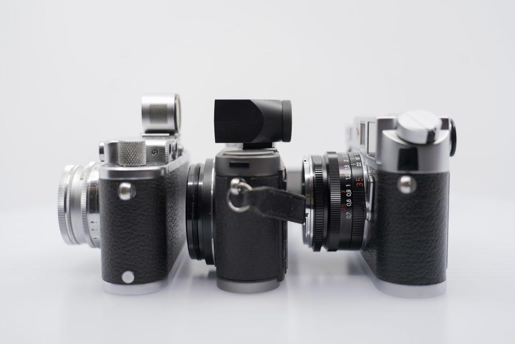 Leica IIIa (mod F), Leica X1 and Leica M6.